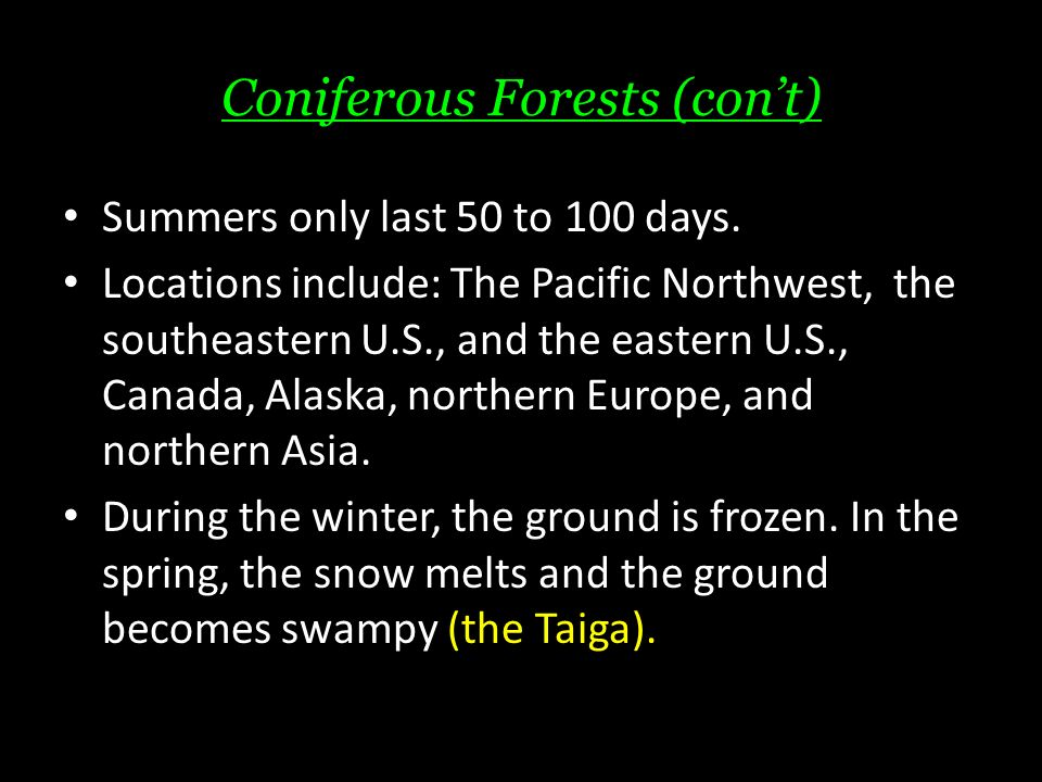 Coniferous Forests (con't) Summers only last 50 to 100 days.