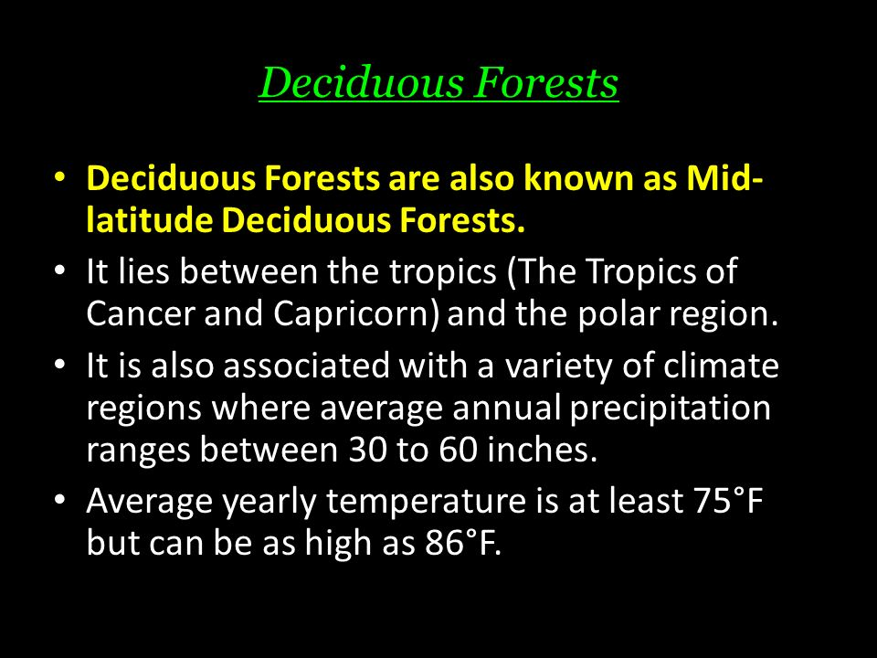Deciduous Forests Deciduous Forests are also known as Mid- latitude Deciduous Forests.