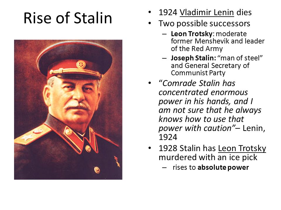 rise of stalin essay This essay will analyze stalin's rise to power through the study of four main elements, which can be denominated as situation in the ussr, stalin's personal.