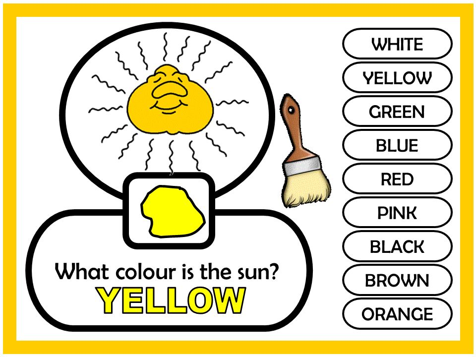 WHITE YELLOW GREEN BLUE RED PINK BLACK BROWN ORANGE What colour is the sun