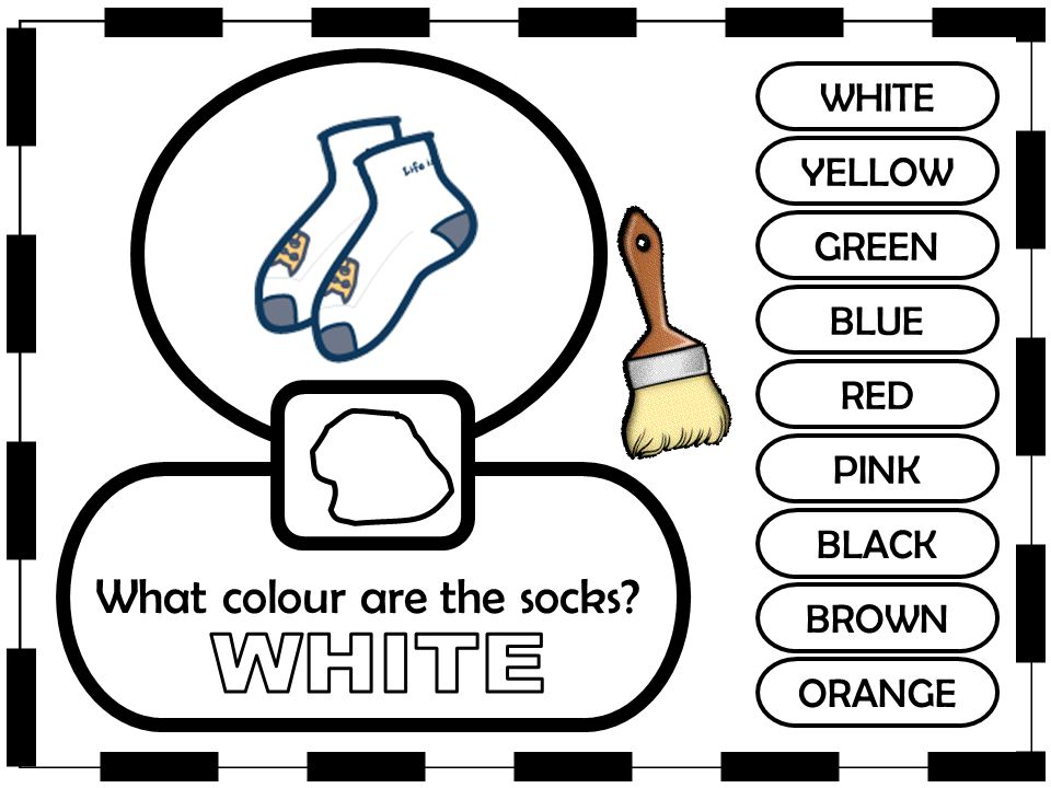 WHITE YELLOW GREEN BLUE RED PINK BLACK BROWN ORANGE What colour are the socks