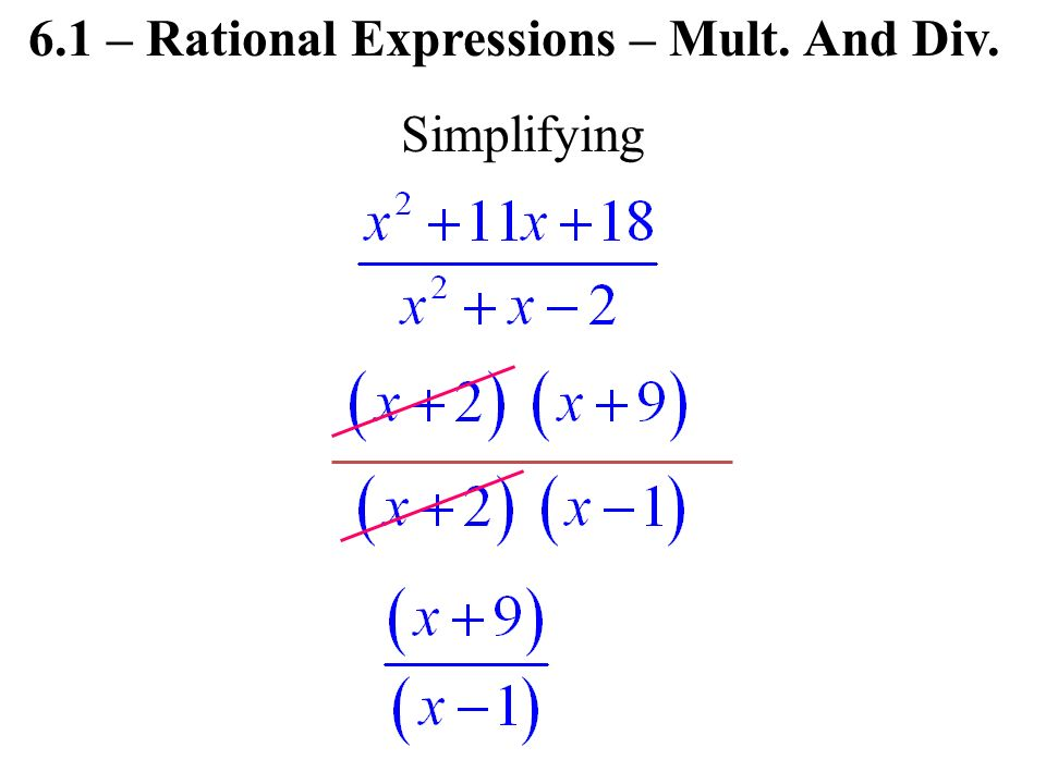 Simplifying 6.1 – Rational Expressions – Mult. And Div.