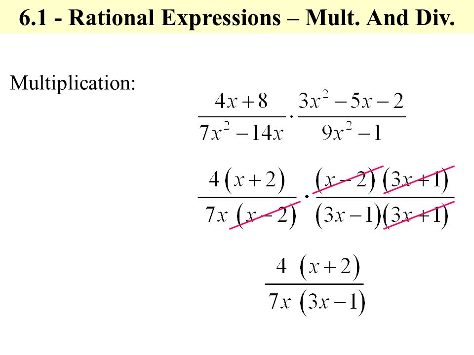 Multiplication: Rational Expressions – Mult. And Div.