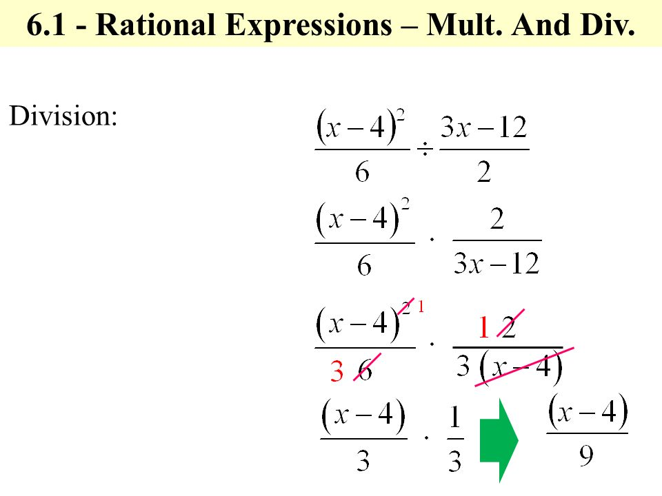 Division: Rational Expressions – Mult. And Div.