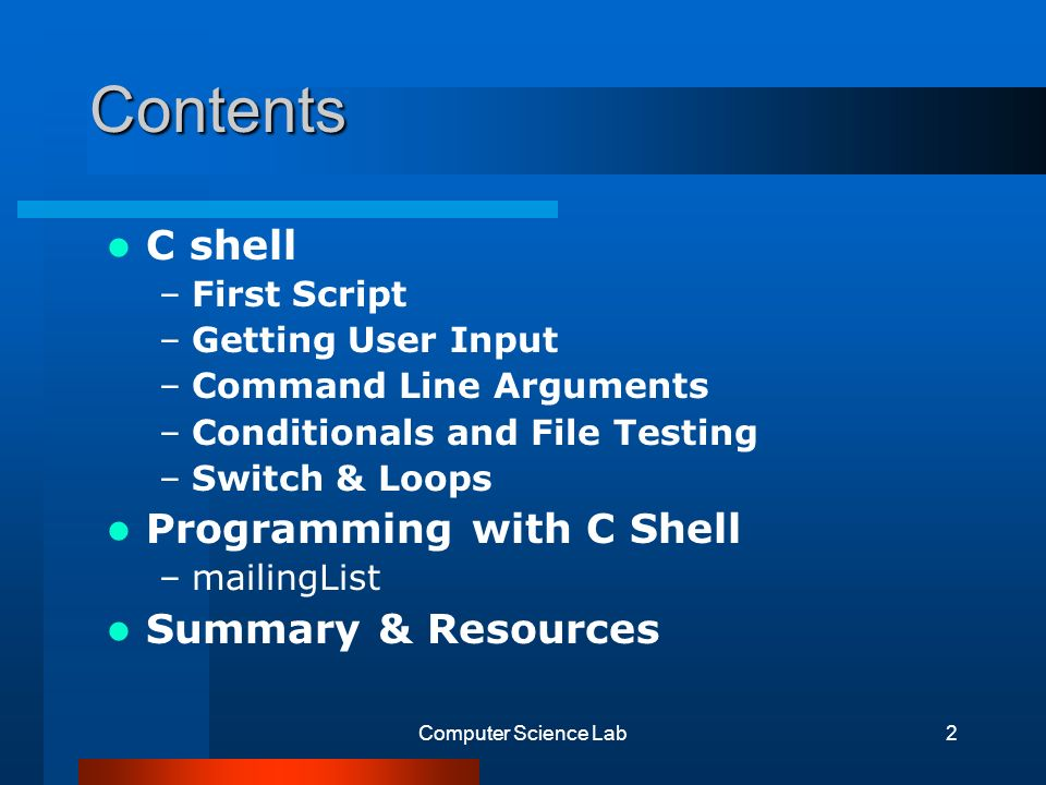 1 Shell Scripting (C shell) SungHo Maeung 10/27/2000 Tutorial