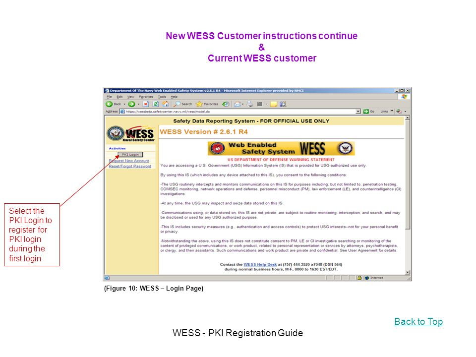 WESS - PKI Registration Guide New WESS Customer instructions continue & Current WESS customer Select the PKI Login to register for PKI login during the first login (Figure 10: WESS – Login Page) Back to Top
