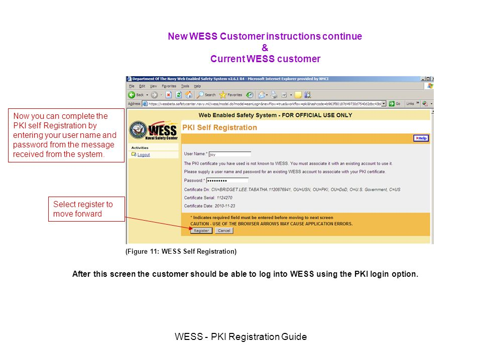 WESS - PKI Registration Guide Now you can complete the PKI self Registration by entering your user name and password from the message received from the system.