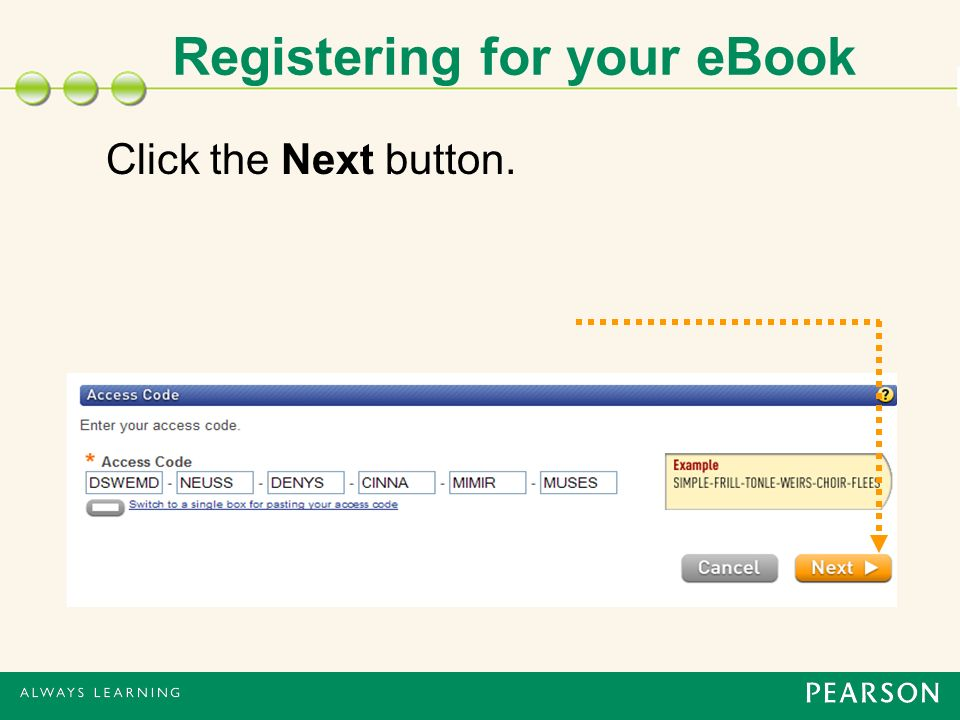 Registering for your eBook Click the Next button.