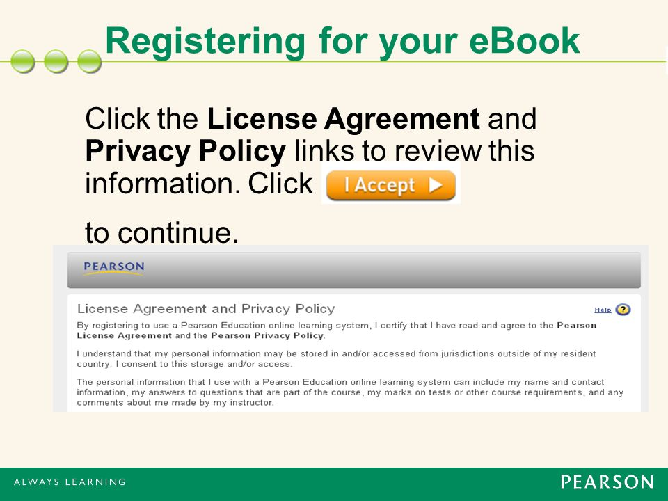 Click the License Agreement and Privacy Policy links to review this information.