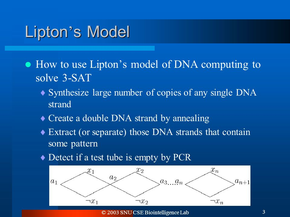 © 2003 SNU CSE Biointelligence Lab 3 Lipton ' s Model How to use Lipton's model of DNA computing to solve 3-SAT  Synthesize large number of copies of any single DNA strand  Create a double DNA strand by annealing  Extract (or separate) those DNA strands that contain some pattern  Detect if a test tube is empty by PCR