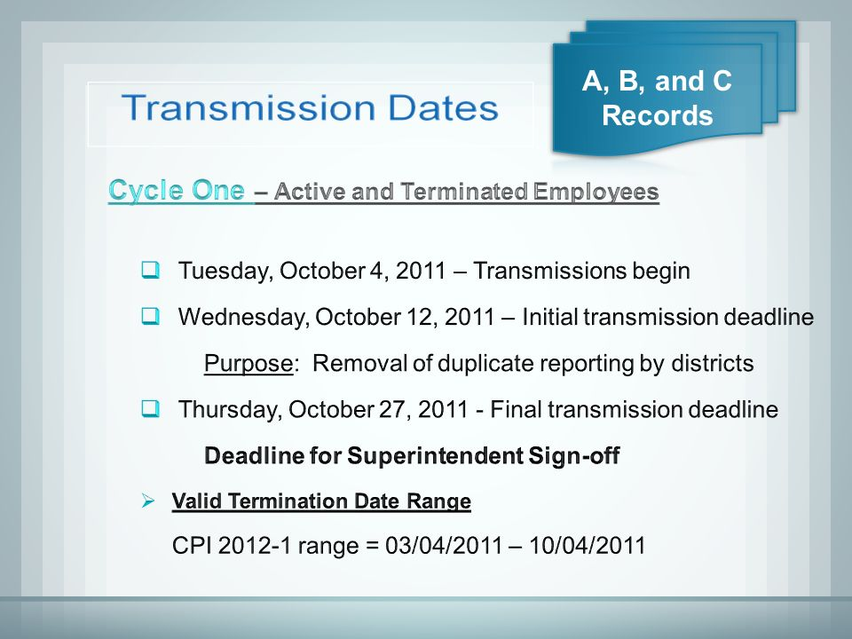 Transmission Dates  Contracts and Salaries o Furloughs and