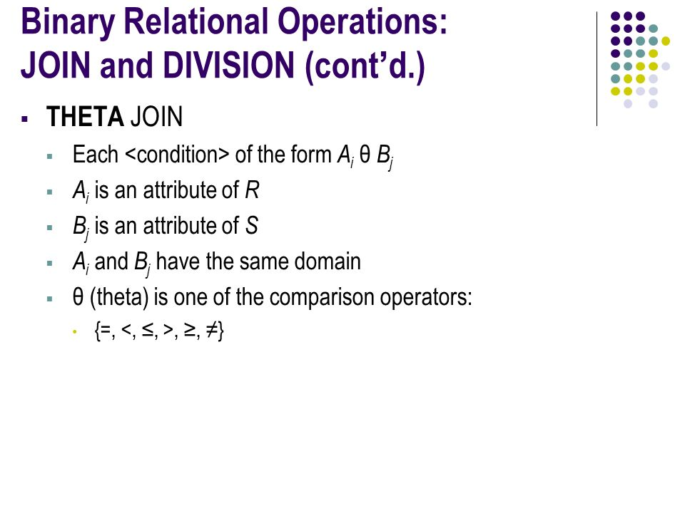Binary Relational Operations: JOIN and DIVISION (cont'd.)  THETA JOIN  Each of the form A i θ B j  A i is an attribute of R  B j is an attribute of S  A i and B j have the same domain  θ (theta) is one of the comparison operators: {=,, ≥, ≠}