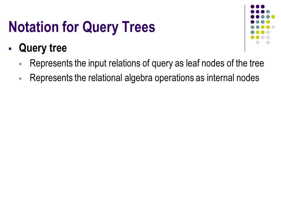 Notation for Query Trees  Query tree  Represents the input relations of query as leaf nodes of the tree  Represents the relational algebra operations as internal nodes