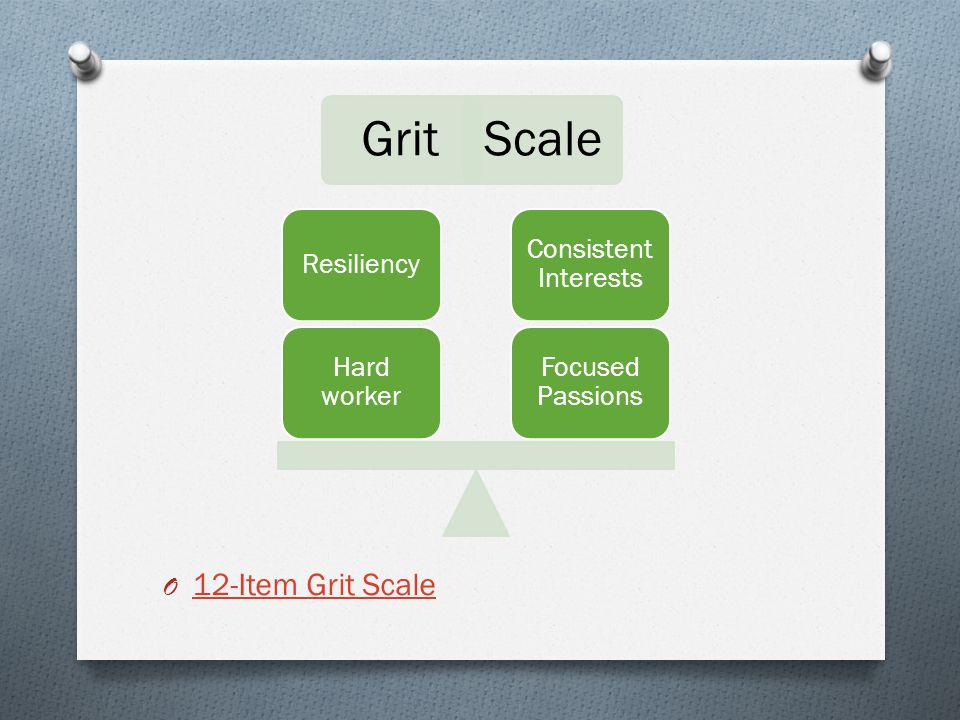 O 12-Item Grit Scale 12-Item Grit Scale GritScale Focused Passions Consistent Interests Hard worker Resiliency