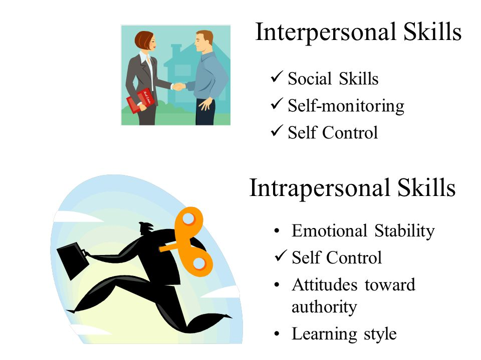 3 interpersonal skills social skills self monitoring self control intrapersonal skills emotional stability self control attitudes toward authority learning