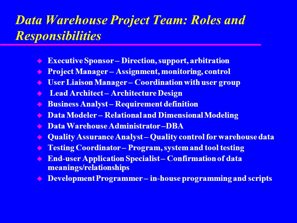 1 Paul K Chen Chapter 4 Data Warehouse Project Planning & Management ...