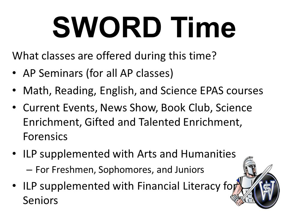 SWORD Time South Warren High School Intervention and Enrichment