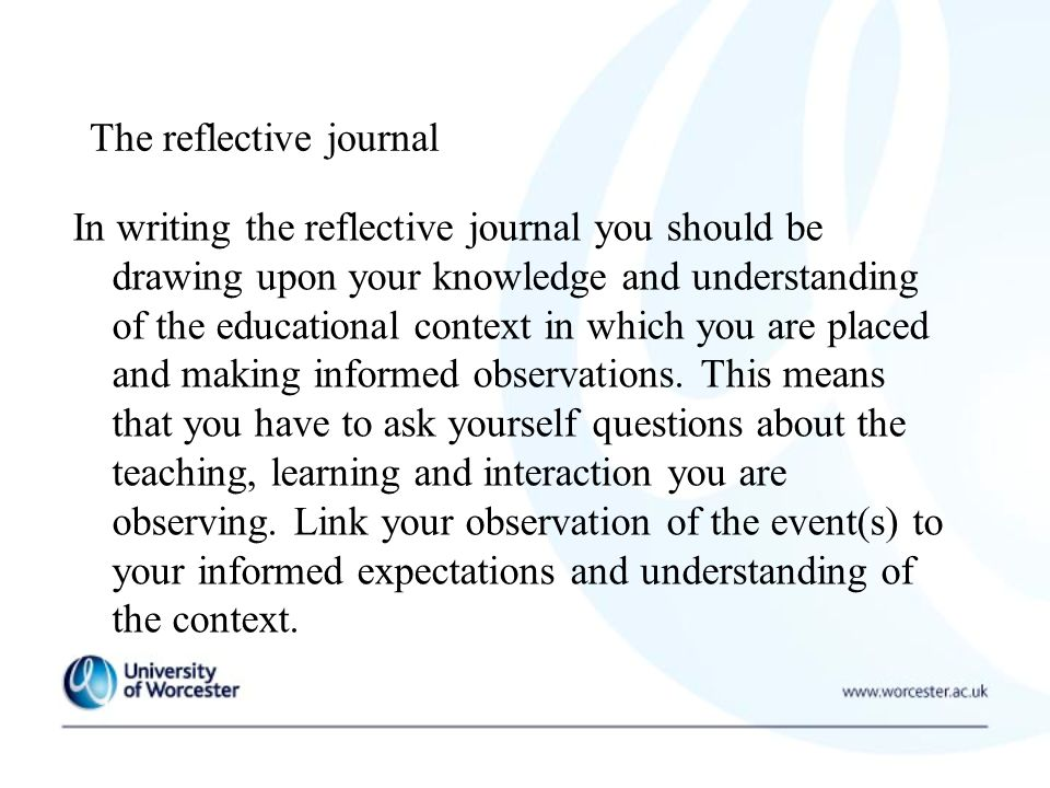 pgce reflective journal examples