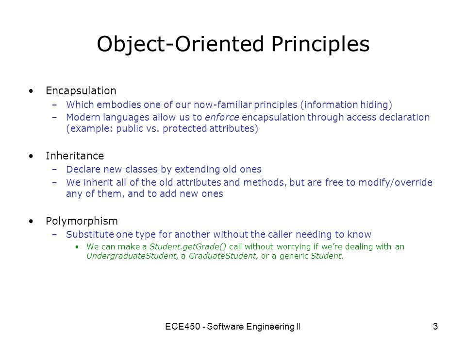 Ece450 Software Engineering Ii1 Ece450 Software Engineering Ii Today Key Principles Of Software Architecture And Design Iii Adapted From Dave Penny S Ppt Download