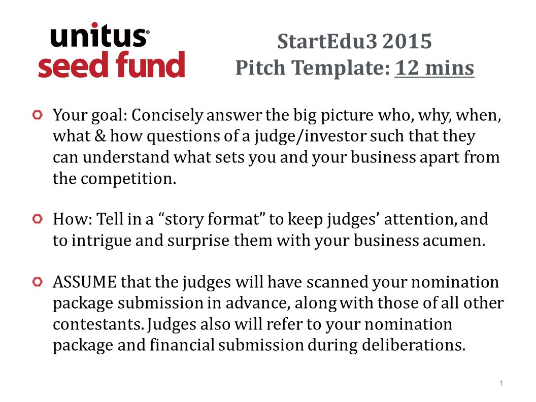 StartEdu Pitch Template Mins Your Goal Concisely Answer The Big - Investor package template