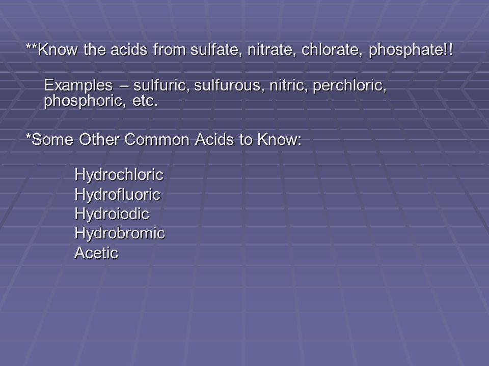 **Know the acids from sulfate, nitrate, chlorate, phosphate!.