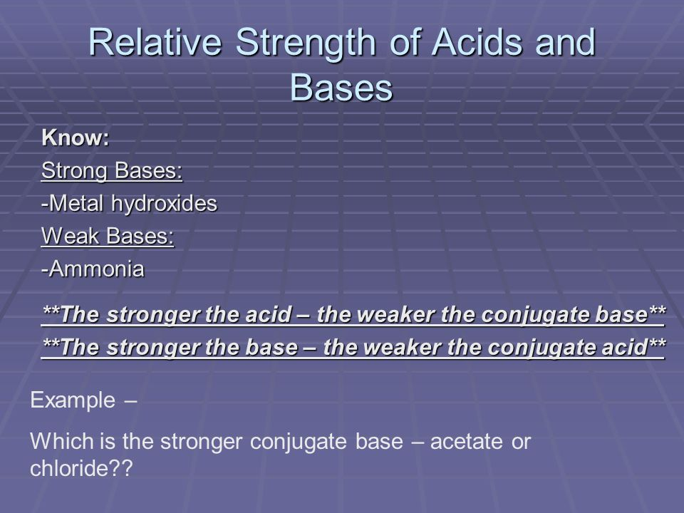 Know: Strong Bases: -Metal hydroxides Weak Bases: -Ammonia **The stronger the acid – the weaker the conjugate base** **The stronger the base – the weaker the conjugate acid** Relative Strength of Acids and Bases Example – Which is the stronger conjugate base – acetate or chloride
