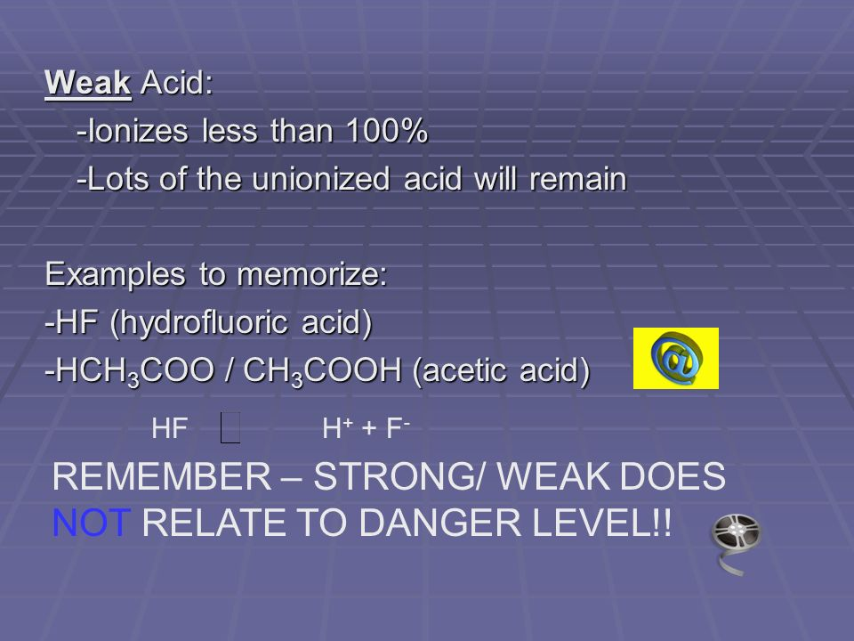 Weak Acid: -Ionizes less than 100% -Lots of the unionized acid will remain Examples to memorize: -HF (hydrofluoric acid) -HCH 3 COO / CH 3 COOH (acetic acid) HF H + + F - REMEMBER – STRONG/ WEAK DOES NOT RELATE TO DANGER LEVEL!!