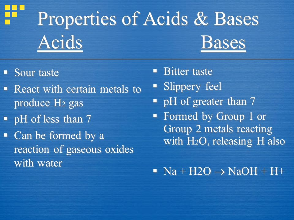 Properties of Acids & Bases Acids Bases  Sour taste  React with certain metals to produce H 2 gas  pH of less than 7  Can be formed by a reaction of gaseous oxides with water  Sour taste  React with certain metals to produce H 2 gas  pH of less than 7  Can be formed by a reaction of gaseous oxides with water  Bitter taste  Slippery feel  pH of greater than 7  Formed by Group 1 or Group 2 metals reacting with H 2 O, releasing H also  Na + H2O  NaOH + H+