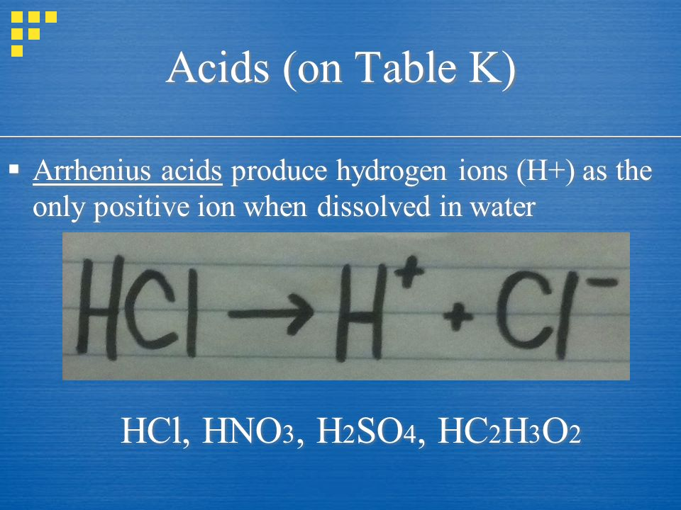 Acids (on Table K)  Arrhenius acids produce hydrogen ions (H+) as the only positive ion when dissolved in water HCl, HNO 3, H 2 SO 4, HC 2 H 3 O 2