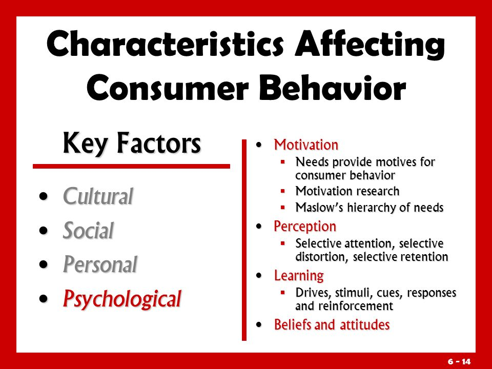 Characteristics Affecting Consumer Behavior Cultural Cultural Social Social Personal Personal Psychological Psychological Motivation  Needs provide motives for consumer behavior  Motivation research  Maslow's hierarchy of needs Perception  Selective attention, selective distortion, selective retention Learning  Drives, stimuli, cues, responses and reinforcement Beliefs and attitudes Key Factors