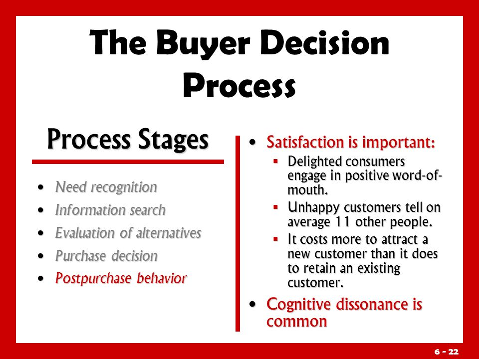 The Buyer Decision Process Need recognition Need recognition Information search Information search Evaluation of alternatives Evaluation of alternatives Purchase decision Purchase decision Postpurchase behavior Postpurchase behavior Satisfaction is important:  Delighted consumers engage in positive word-of- mouth.