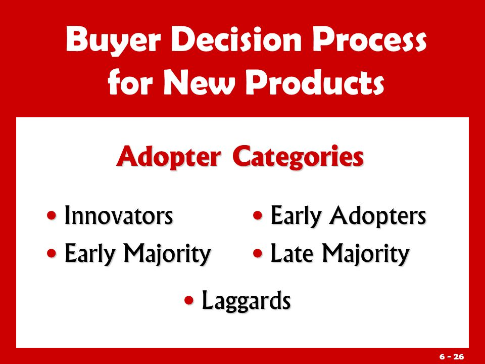 Adopter Categories Buyer Decision Process for New Products Innovators Innovators Early Majority Early Majority Early Adopters Late Majority Laggards Laggards