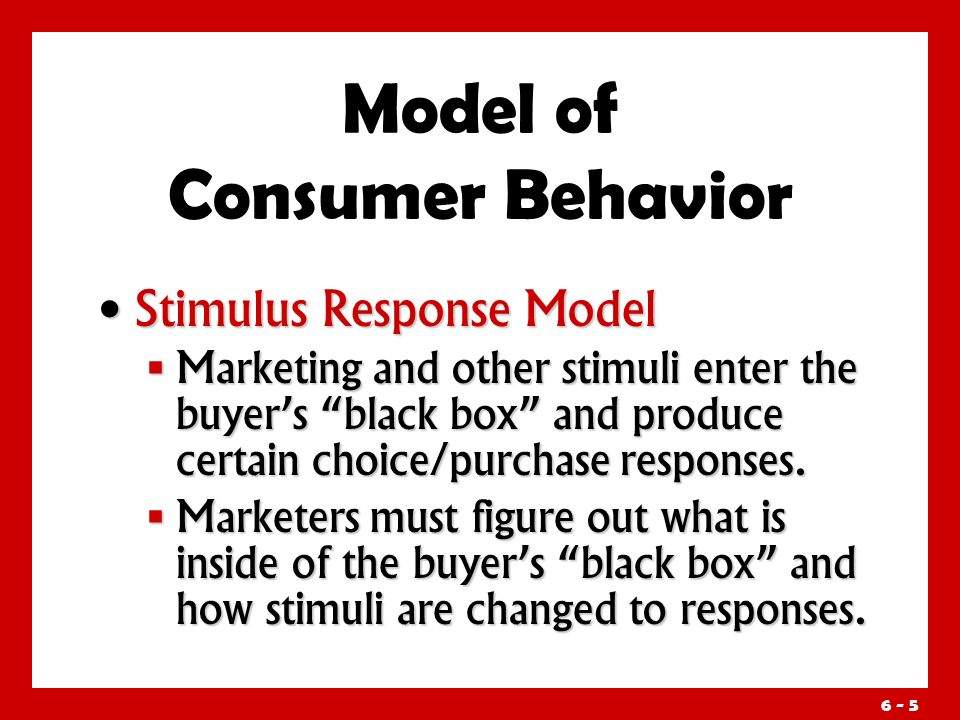 6 - 5 Stimulus Response Model Stimulus Response Model  Marketing and other stimuli enter the buyer's black box and produce certain choice/purchase responses.