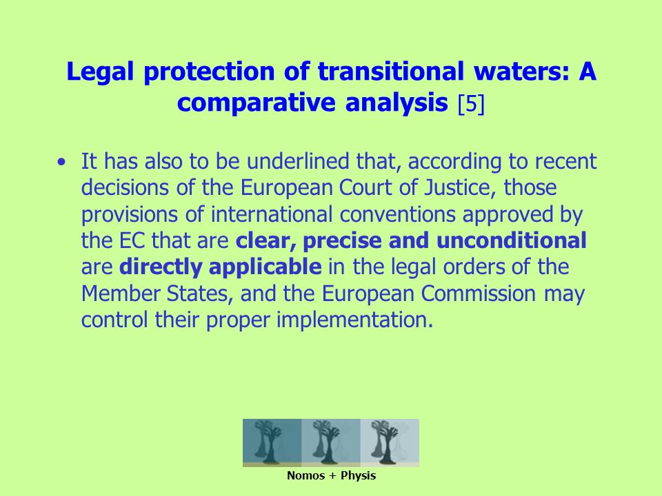 Legal protection of transitional waters: A comparative analysis [5] It has also to be underlined that, according to recent decisions of the European Court of Justice, those provisions of international conventions approved by the EC that are clear, precise and unconditional are directly applicable in the legal orders of the Member States, and the European Commission may control their proper implementation.