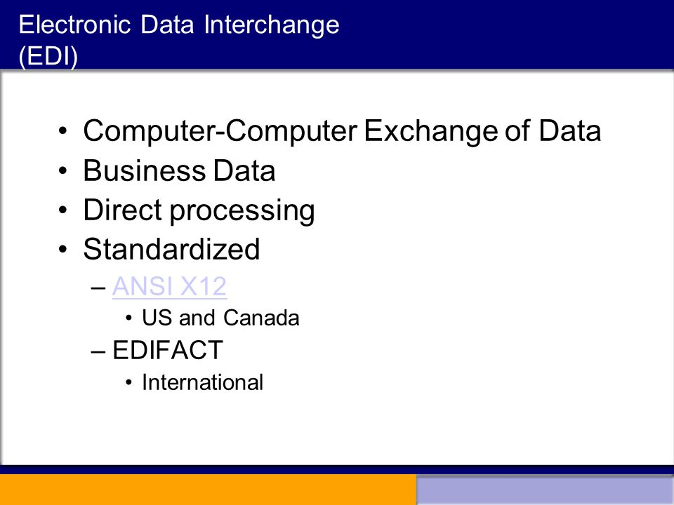 a report on electronic data interchange edi in business environment Edi is the exchange of business data in a standardized format between business computer systems edi represents a fundamental change in the way this ensures that electronic data can be exchanged easily and correctly have access to a value added network (van) for edi 810 invoices.