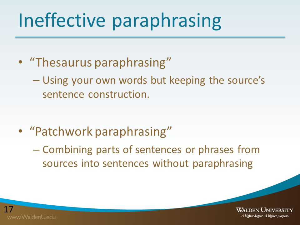 What is patchwork paraphrasing