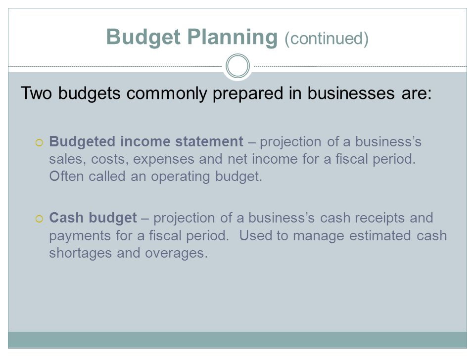 5 01 budget planning control budget planning financial planning