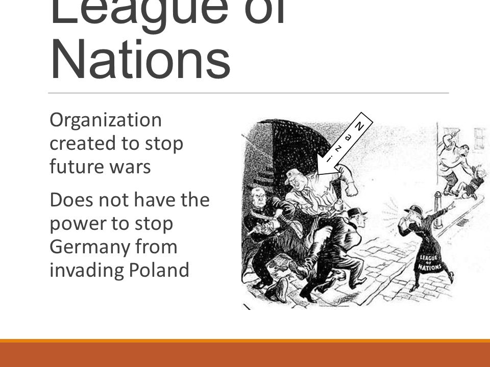 League of Nations Organization created to stop future wars Does not have the power to stop Germany from invading Poland NaziNazi