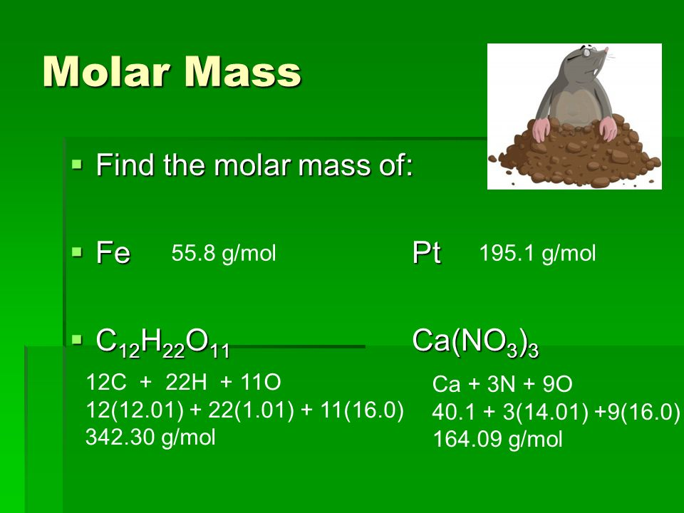 Molar Mass  Find the molar mass of:  Fe Pt  C 12 H 22 O 11 Ca(NO 3 ) g/mol195.1 g/mol 12C + 22H + 11O 12(12.01) + 22(1.01) + 11(16.0) g/mol Ca + 3N + 9O (14.01) +9(16.0) g/mol