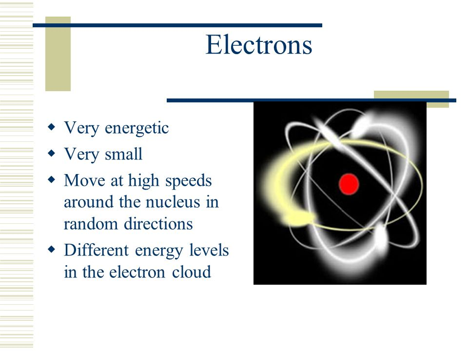 Electrons  Very energetic  Very small  Move at high speeds around the nucleus in random directions  Different energy levels in the electron cloud