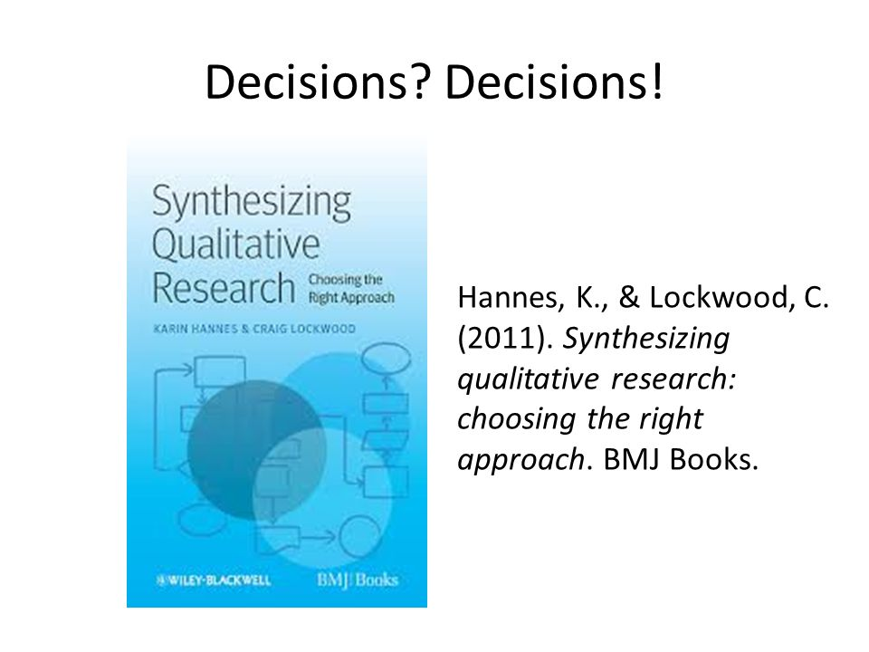 Synthesizing Qualitative Research: Choosing the Right Approach (Key Concepts)