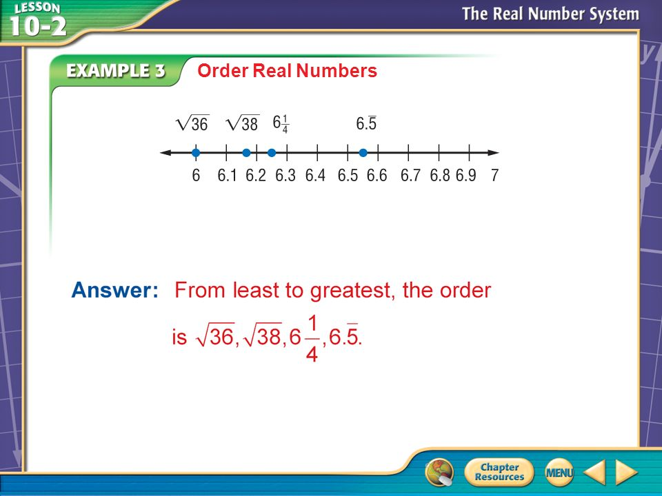 Example 3 Order Real Numbers