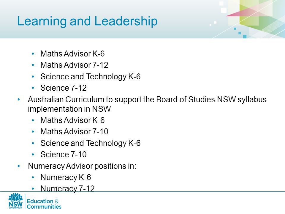 Department of Education and Communities A focus on Maths and Science ...