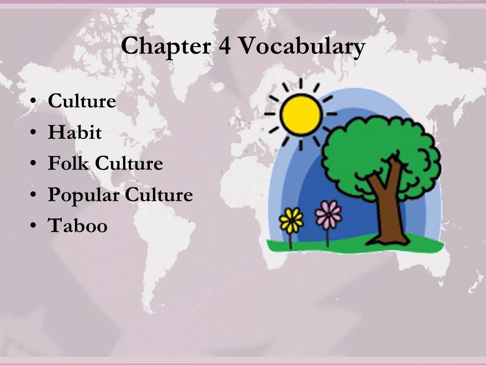 Chapter 4 Vocabulary Culture Habit Folk Culture Popular
