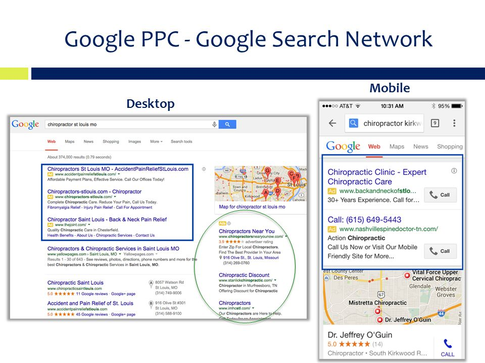 Google PPC - Google Search Network Desktop Mobile