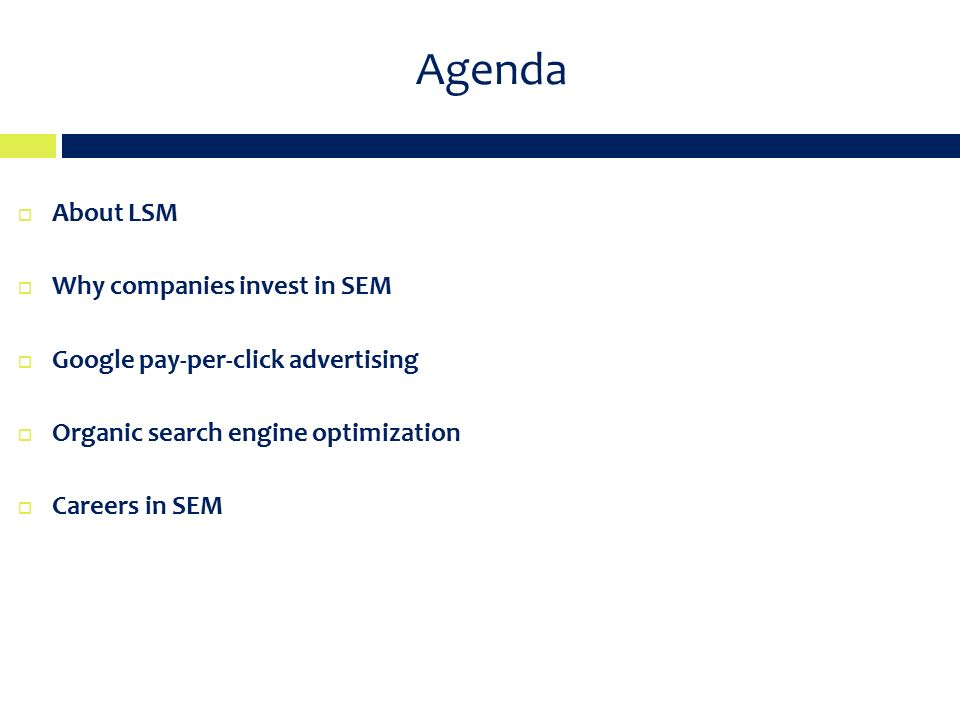 Agenda  About LSM  Why companies invest in SEM  Google pay-per-click advertising  Organic search engine optimization  Careers in SEM