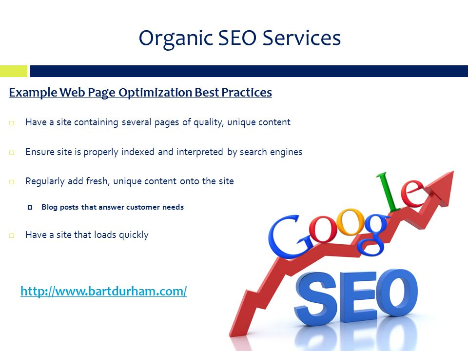Organic SEO Services Example Web Page Optimization Best Practices  Have a site containing several pages of quality, unique content  Ensure site is properly indexed and interpreted by search engines  Regularly add fresh, unique content onto the site  Blog posts that answer customer needs  Have a site that loads quickly
