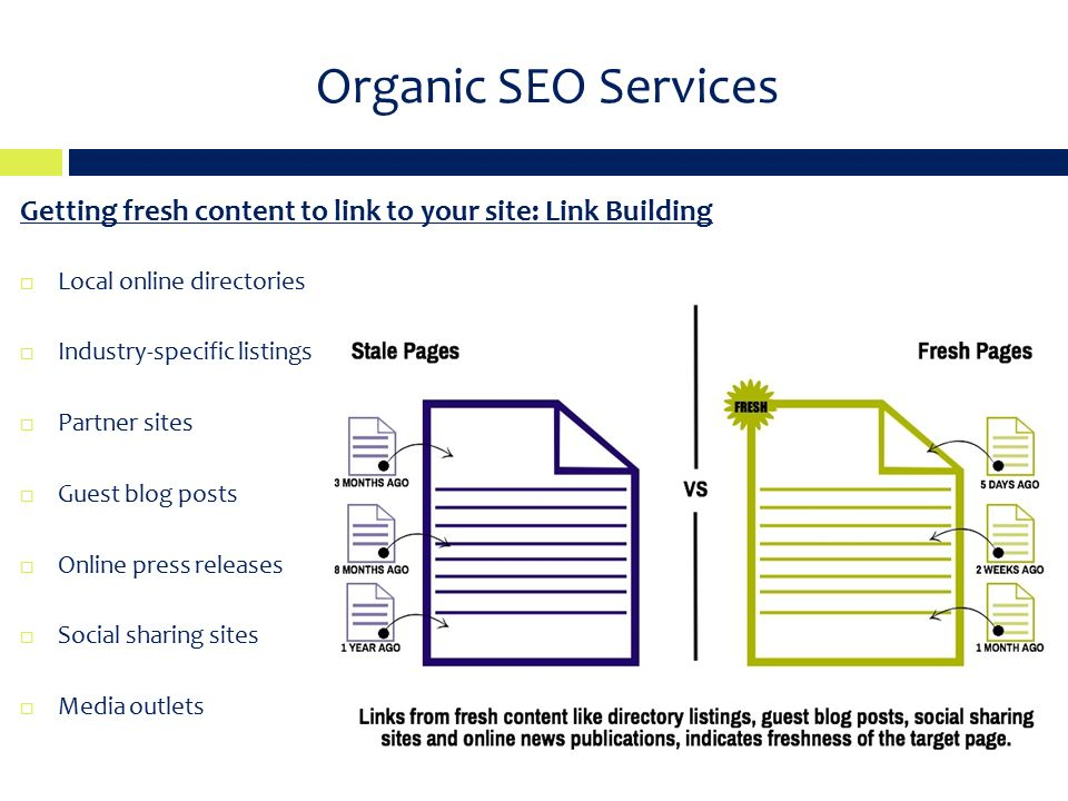 Organic SEO Services Getting fresh content to link to your site: Link Building  Local online directories  Industry-specific listings  Partner sites  Guest blog posts  Online press releases  Social sharing sites  Media outlets
