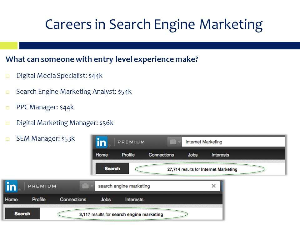 Careers in Search Engine Marketing What can someone with entry-level experience make.