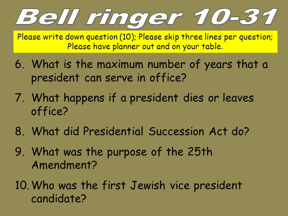 Whats order presidential succession if president leaves